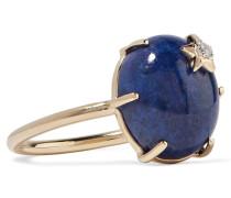 Mini Star Ring Aus 18 Karat  Mit Lapislazuli Und Einem Diamanten