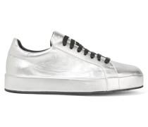 Sneakers Aus Leder In Metallic-optik - Silber