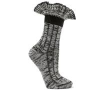 Socken Aus Einer Wollmischung Mit Rüschen - Schwarz