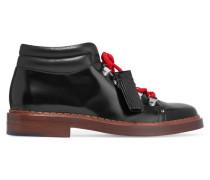 Ankle Boots Aus Glanzleder - Schwarz