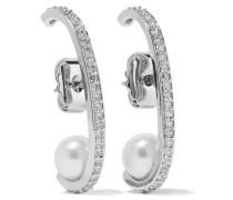 Rhodinierte Ohrringe Mit Cubic Zirkonia-steinen Und Kunstperlen - Silber