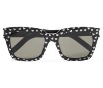 Sonnenbrille Aus Azetat Mit Eckigem Rahmen Und Glittereffekt - Schwarz