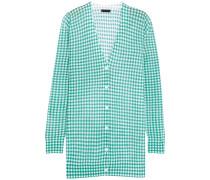 Cardigan Aus Einer Baumwollmischung Mit Gingham-karo - Jade