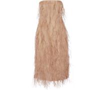 Kleid Aus Seidenorganza Mit Federverzierung - Sand