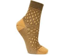 Socken Aus Strick In Häkeloptik Mit Metallic-effekt -