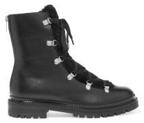 Ankle Boots Aus Leder Mit Shearling-besatz - Schwarz