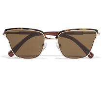 Goldfarbene Sonnenbrille mit Cat-Eye-Rahmen aus Azetat