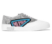 Sneakers Aus Leder Mit Glitter-finish Und Applikation -