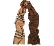 Karierter Schal Aus Einer Woll-seidenmischung - Camel