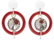 Gold- Und Silberfarbene Ohrringe Aus Harz Mit Kristallen -