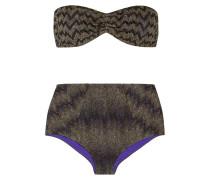 Mare Bandeau-bikini Aus Strick In Häkeloptik Mit Metallic-effekt - Schwarz