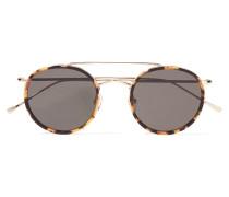 Allen Sonnenbrille mit Rundem Rahmen aus Azetat und Goldfarbenem Metall -
