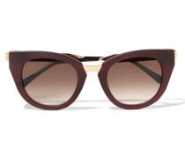 Snobby Sonnenbrille Mit Cat-eye-rahmen Aus Mattem Azetat Und Goldfarbenem Metall - Burgunder