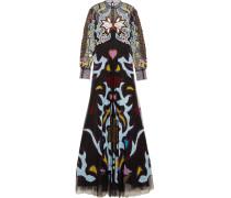 Sundance Robe Aus Tüll Mit Applikationen Und Besätzen Aus Spitze Und Leder - Schwarz