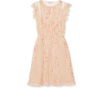 Minikleid aus Bedrucktem Seiden-georgette und Point D'esprit mit Rüschen -