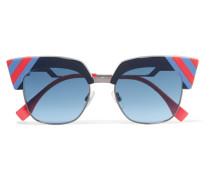 Sonnenbrille Mit Cat-eye-rahmen Aus Gestreiftem Azetat Und Stahlgrauen Details -