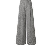 Hose mit Weitem Bein aus Jacquard aus einer Baumwollmischung -