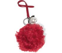 Schlüsselanhänger Aus Shearling Und Leder Mit Kunstperle - Rot