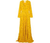Margo Verzierte Robe aus Crêpe De Chine aus Seide mit Wickeleffekt -