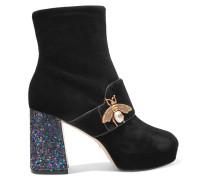 Ankle Boots Aus Samt Mit Glitter-finish Und Verzierung -