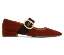Zweifarbige Flache Schuhe Mit Spitzer Kappe Aus Samt - Braun