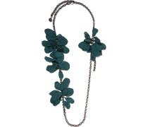 Gina Kette Mit Zinnauflage, Organza Und Swarovski-kristallen - Smaragdgrün