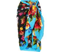 Pareo aus Baumwoll-gaze mit Floralem Print -