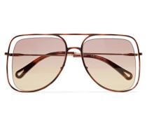 Poppy farbene Sonnenbrille Mit Eckigem Rahmen Aus Azetat
