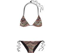 Mare Triangel-bikini Aus Strick In Häkeloptik Mit Metallic-effekt -