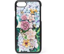 Verzierte Iphone 7-hülle Aus Strukturiertem Leder Mit Blumendruck -