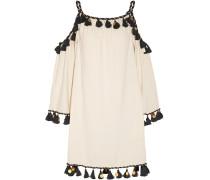 Schulterfreies Minikleid aus Seiden-Bourette mit Verzierung
