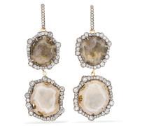 Ohrringe Aus 18 karat Geschwärztem  Mit Diamanten Und Geoden