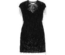 Verziertes Kleid Aus Tüll Aus Einer Seidenmischung Mit Fransen -