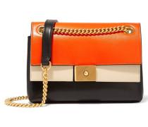 Cheyne Mini Schultertasche Aus Leder Mit Besatz - Orange