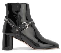 Ankle Boots Aus Lackleder Mit ösenverzierungen -