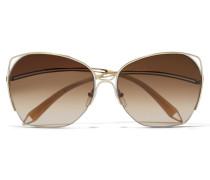 Fine Wave Goldfarbene Sonnenbrille Mit Eckigem Rahmen