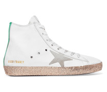 Francy High-top-sneakers Aus Leder In Distressed- Und Glitteropik -