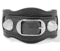 Giant Armband Aus Strukturiertem Leder Mit Silberfarbenen Details - Grau