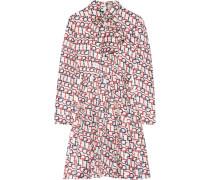 Minikleid Aus Seiden-twill Mit Schluppe Und Print -
