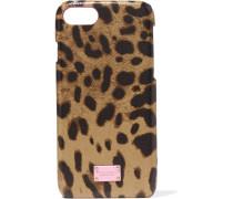 Iphone 7-hülle Aus Strukturiertem Leder Mit Leopardenprint Und Shell -