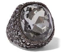 Ring Mit Rotgussauflage Und Kristallen - Stahlgrau