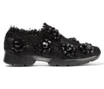 Slip-on Sneakers Aus Tweed Mit Verzierungen - Schwarz