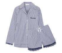 Pyjama Aus Gestreifter Baumwolle Mit Spitzenbesatz -