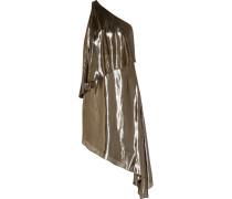 Asymmetrisches Schulterfreies Kleid Aus Lamé Aus Einer Seidenmischung - Gold