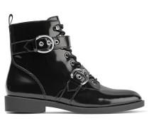 Taylor Ankle Boots Aus Lackleder Mit Schnürung - Schwarz