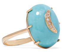 Crescent Moon Ring Aus 14 Karat  Mit Türkisen Und Diamanten
