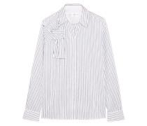 Hemd Aus Baumwollpopeline Mit Nadelstreifen Und Knotendetail - Weiß