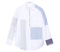 Sela Hemd Aus Baumwollpopeline In Patchwork-optik - Weiß