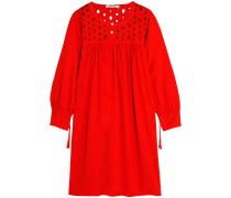 Besticktes Kleid aus einer Leinenmischung mit Cut-outs