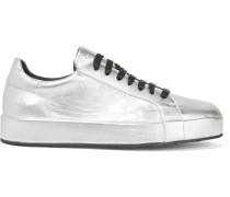 Sneakers aus Leder in Metallic-Optik